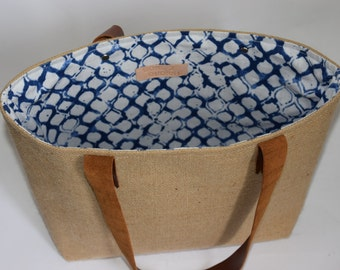 Blue and White Quonnie Day Bag /Tote / Purse