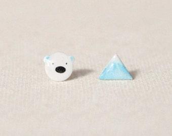 Polar bear stud earrings//animail Jewelry//Stud Earring//mountain earrings//bear and ice mountain//North Pole