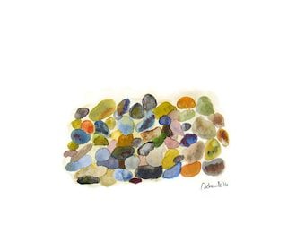 Abstract watercolor painting stones, pebbles, rocks, original watercolor