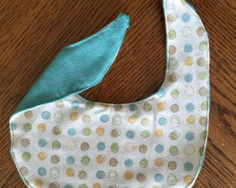 Polka Dot Bib and Burp Cloth