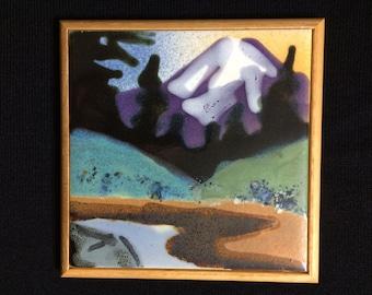 Vintage Paul Lewing Custom Tile Mount Rainier Tile Mountain Art Wall Hanging