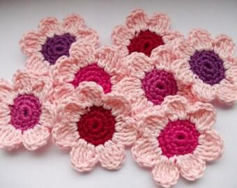 8 crochet flowers - 5 cm - Rosé