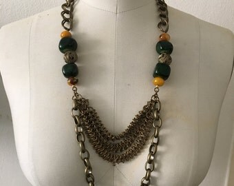 Metal Chain Statement Necklace