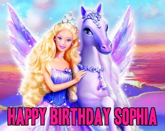 BARBIE Magic of Pegasus 1/4 Edible Frosting Icing Sheet Cake Topper Image Customized Personalized Birthday 1st Party Custom Decoration