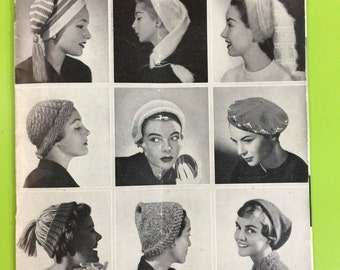 Vintage Retro Mid Century Knitting Pattern Book No. 490 - Hats & Scarves