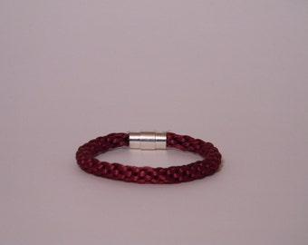 Wine Satin Cord Braided Bracelet/Casual/Kumihimo/Silver magnetic clasp/Simple bracelet/Bracelet