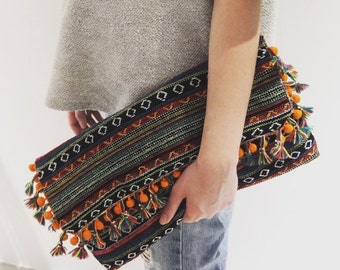 Boho pom pom flap over clutch with tassel