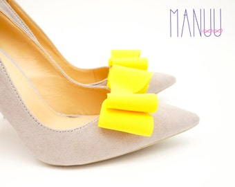 Yellow bows - shoe clips Manuu, Wedding accessory, Bridal shoes