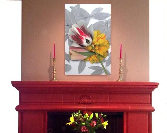 Transfer flower print on fabric. Garden flowers scanned for interior design, modern flower art prints. Sun Up Design. Garden to fabric.