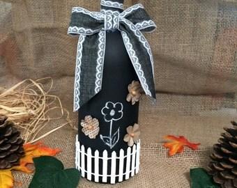 Chalkboard wine bottle decor