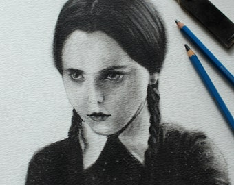 "Original charcoal Drawing-""Wednesday Addams"""