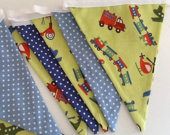 Handmade Double Sided Trains, Trucks, Planes and Helicopter Bunting