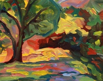 "Colorist Landscape original oil towpath painting on canvas, Plein Air, 8"" x 10"", ""Down the Towpath"" Laurie Rubinetti, FREE SHIPPING"