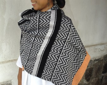 Free shipping, Guathemalan mayan handwoven shawl scarf stole, handwoven scarf, handmade textile, black & white scarf, shawl, scarf, poncho
