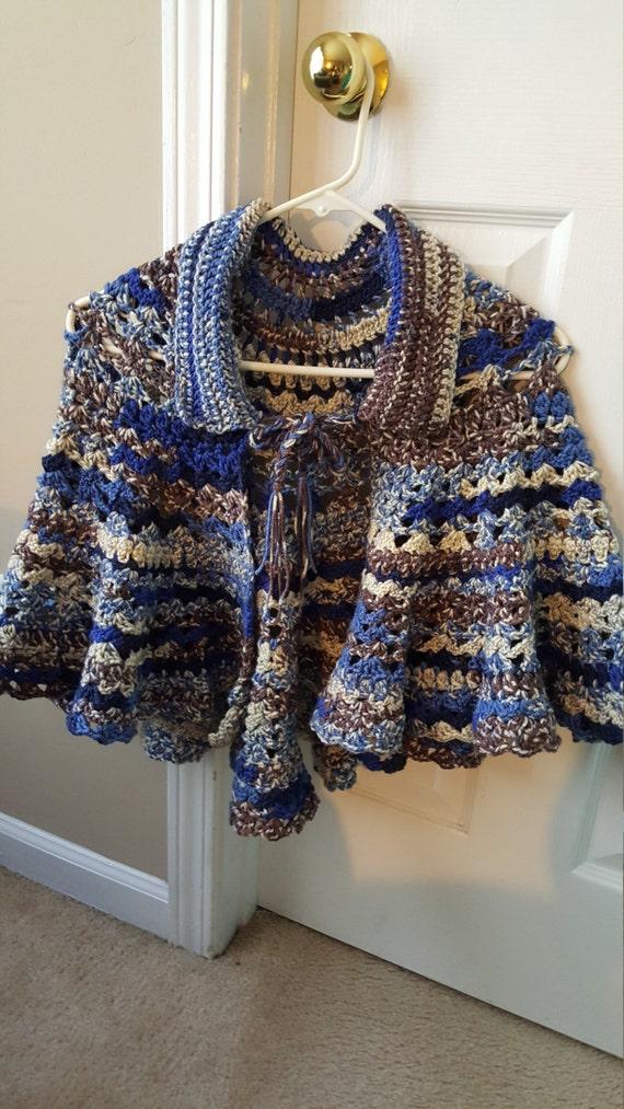 Crochet Shawl Shades of Blue semi-circular by CrochetbyCuky