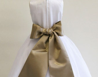 Buy 1 Get 1 Free Designer US Angels- COCOA Satin Tapered Flower Girl Dress Sash