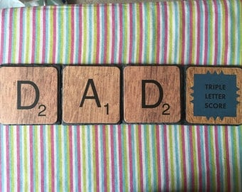 Up-cycled Father's Day Scrabble Slate Coasters