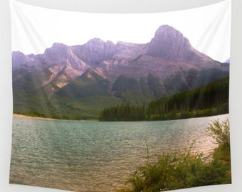 Mountain Tapestry, Mist Tapestry, Nature Tapestry, Mountain Wall Hanging, Lake Tapestry, Landscape Tapestry, Mountain Lake Tapestry, Misty