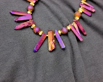 Purple-dyed Crystal Quartz Necklace Set