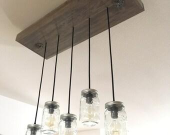 Vintage Industrial Pendant Lamp, Mason Jar Light Fixture, Wood Light Fixture
