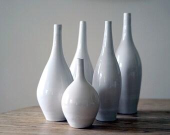 MADE TO ORDER- 5 vase set, bud vase, pottery vase, ceramic vase, custom vase, flower vase, white vase, vase set, modern vase,minimalist vase