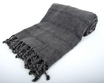 Stone Washed Turkish Bath Towel - %100 Cotton - Stone Washed Peshtemal - Beach, Hammam, Yoga, Sauna, Bath Towel