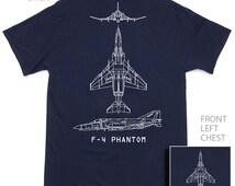 F-4 Phantom Military Aircraft Blueprint T-Shirt BRAND NEW Navy Blue 100% Cotton