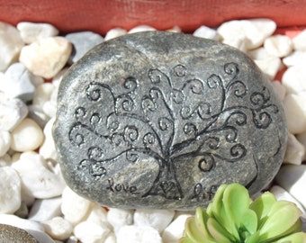 Love Life Tree. Hand engraved and hand painted garden rock