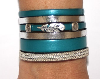 "Cuff leather bracelet high quality collection ""Sweetness Celeste"" - Turquoise and silver"