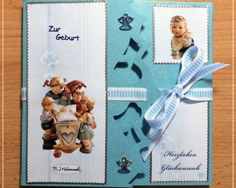 Mini album birth, baby, photo album, handmade, memories, 14 x 14 cm