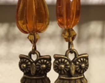 Amber Color Owl Earrings- Bronze