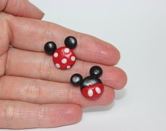 Mickey and Minnie inspired polymer clay stud earrings