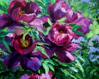 Peonies in the garden, Large Painting, Painting modern