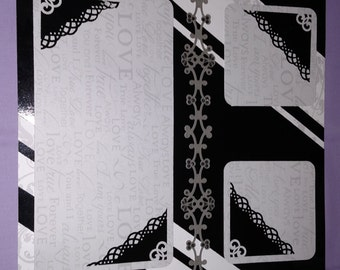 Black and White scrapbook page