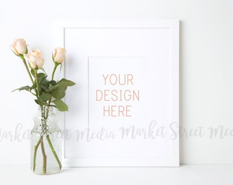 Styled White Frame - Portrait - Stock Photography - High Res Jpg + Psd (Smart Object layer) MarketStreetMedia #001