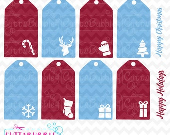 Christmas gift tags, holiday gift tags -  SVG cut file + PNG + DXF for Silhouette cameo, Cricut etc.