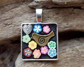 Mosaic Pendant Necklace Flower Heart Bird