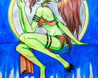 """Framed Watercolor Mythic Original Painting """"Astral Satyress"""""""