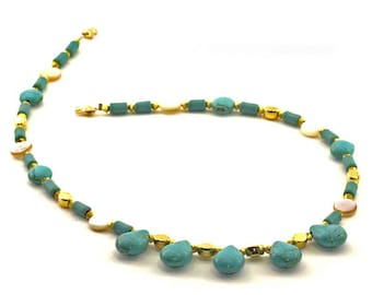 Turquoise Drops and Mother of Pearl