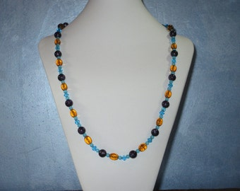 Honey, purple and blue long necklace