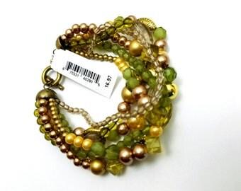 Green and beige 6 strands bracelet