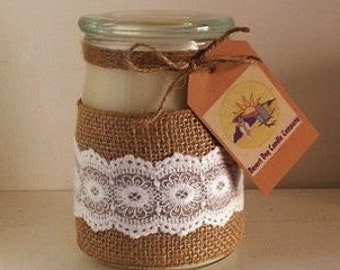 24 oz Soy Lace and Jute Candle