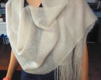 Super Kid Mohair shawl scarf hand-woven-wire frame