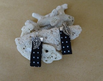 Liberty earrings with black and white polka dots