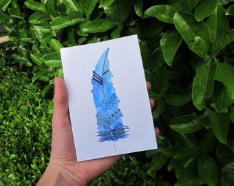 Blue Feather Watercolour Card, Blue And White, Printed Card