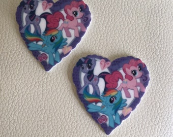 MY LITTLE PONY flat backed resin love hearts x 2