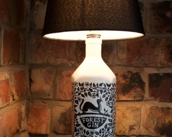 Upcycled Forest Gin Bottle Table Lamp