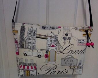 Paris, London print shoulder purse.