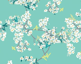 Cherry Blossom Fabric | Small White Flowers | Dainty Floral | Mint Green | Light Green and White | Pretty Flowers | Floral Fabric | Sage