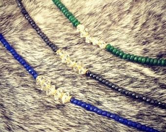Herkimer diamond 24k gold bracelet - with natural Spinel / Lapis / or Emerald